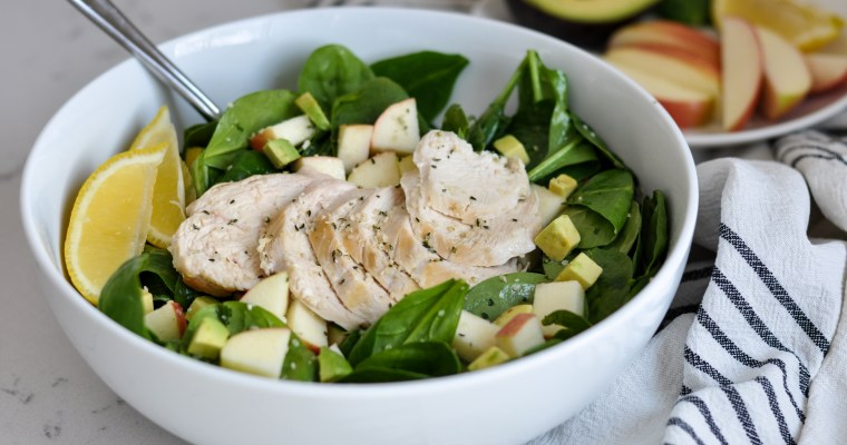Spinach Salad with Chicken, Apples and Avocados
