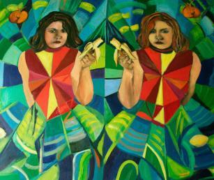 The banana ladies, óleo sobre lienzo, 80x1,20. 2014.De la serie twins and other portraits..