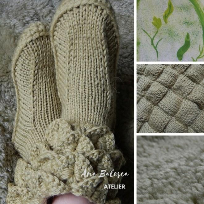pantufa crocodilo handmade lã feito a mão