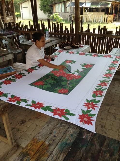 Znane, ręcznie malowane obrusy, Cherating