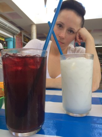 on the left - Jamaica drink, on the right - Horchata
