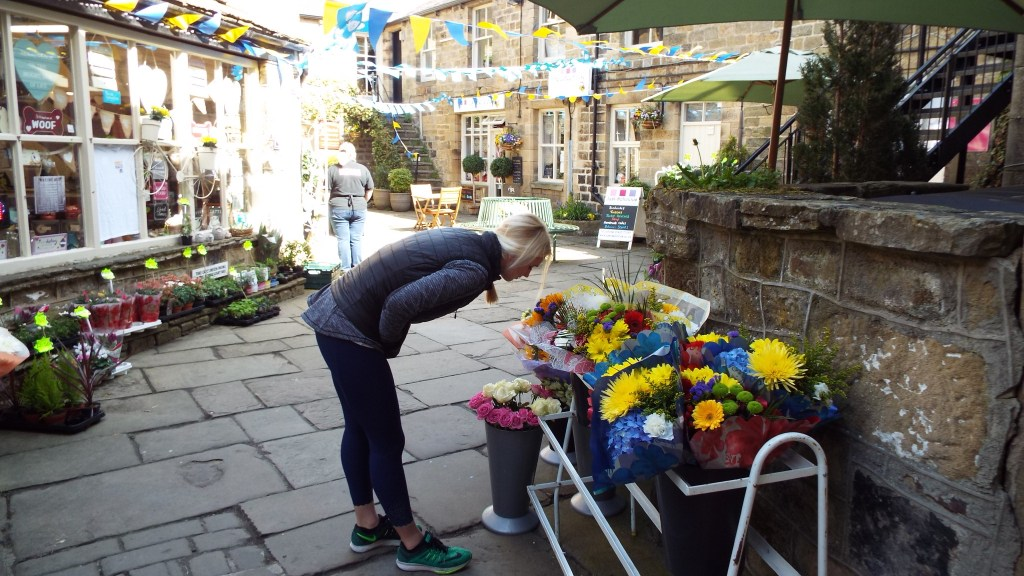 Adrian checking out the flowers in Pateley Bridge