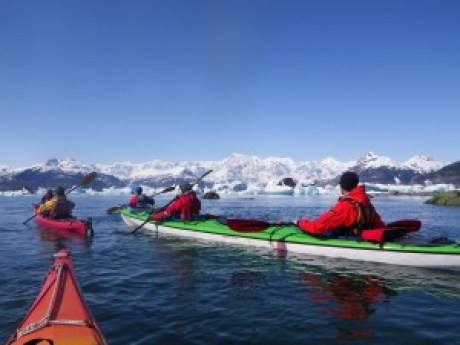 Paddling with icebergs in Columbia Bay