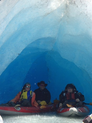 Chillin' in an ice cave at the Valdez Glacier
