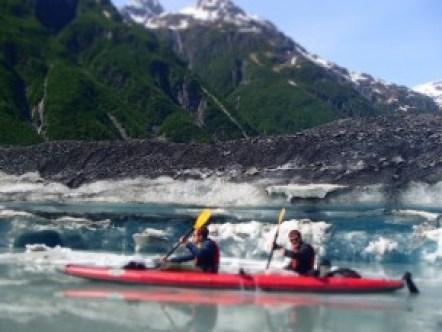 Paddling at the face of the Valdez Glacier