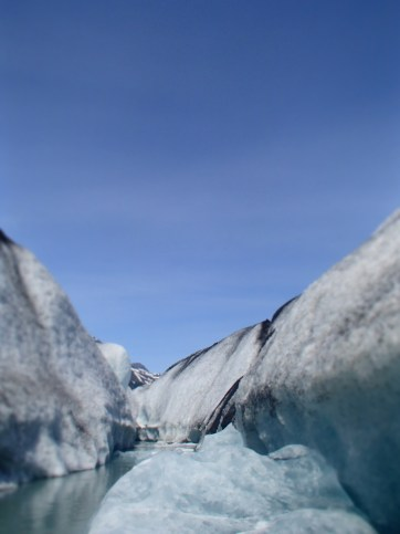 Exploring an ice channel in the Valdez Glacier