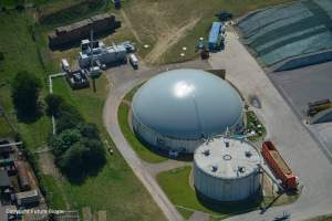 Image which shows biogas holder design at an AD plant.