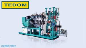 Image show a large Tedom electric generator suitable for being fuelled by biogas, from anaerobic digestion.