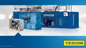 Image show the TEDOM biogas electric generator range from small 7kW units up to 10,000kW generator sets.