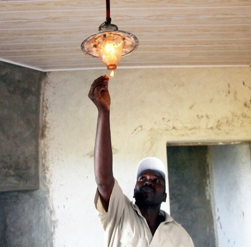 Image shows biogas being used for lighting.
