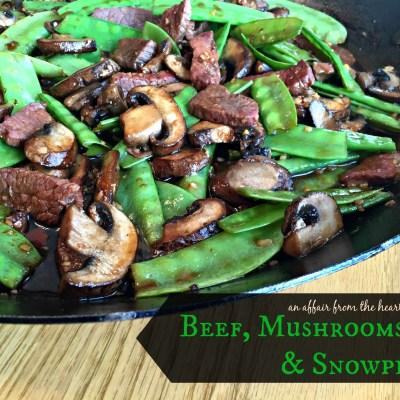 Asian Beef, Mushrooms and Snow Peas