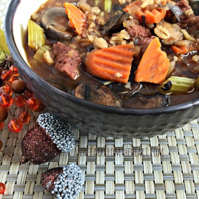 Vegetable Beef, Barley and Mushroom Soup
