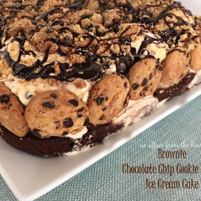 Brownie Chocolate Chip Cookie Dough Ice Cream Cake