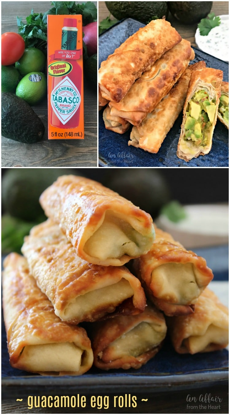 Guacamole Egg Rolls with Spicy Cilantro Ranch Dipping Sauce