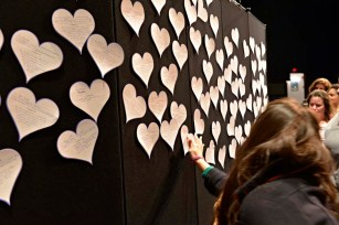 Hearts of Commitment gathered together on the wall