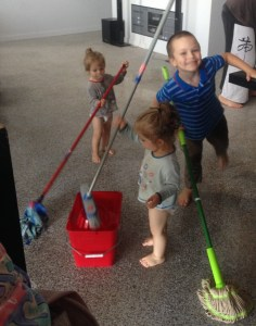 Boys mopping