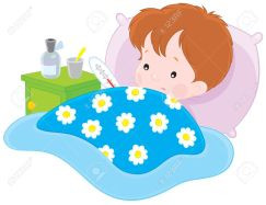11674227-sick-boy-lying-with-a-thermometer-in-a-bed-Stock-Vector-sick-child-cartoon