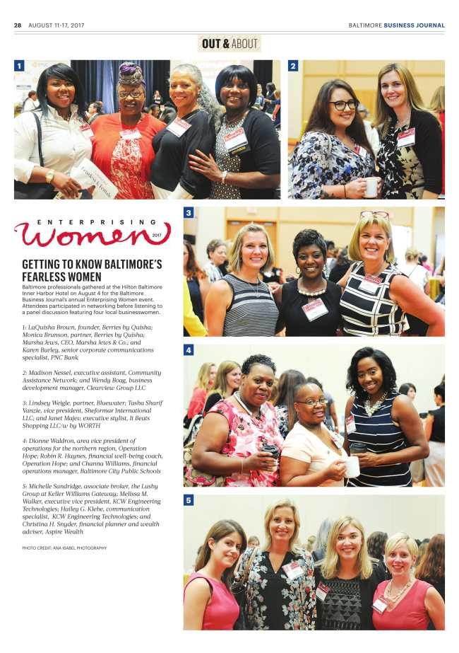 Baltimore Business Journal Enterprising Women feature photographs by Ana Isabel Photography