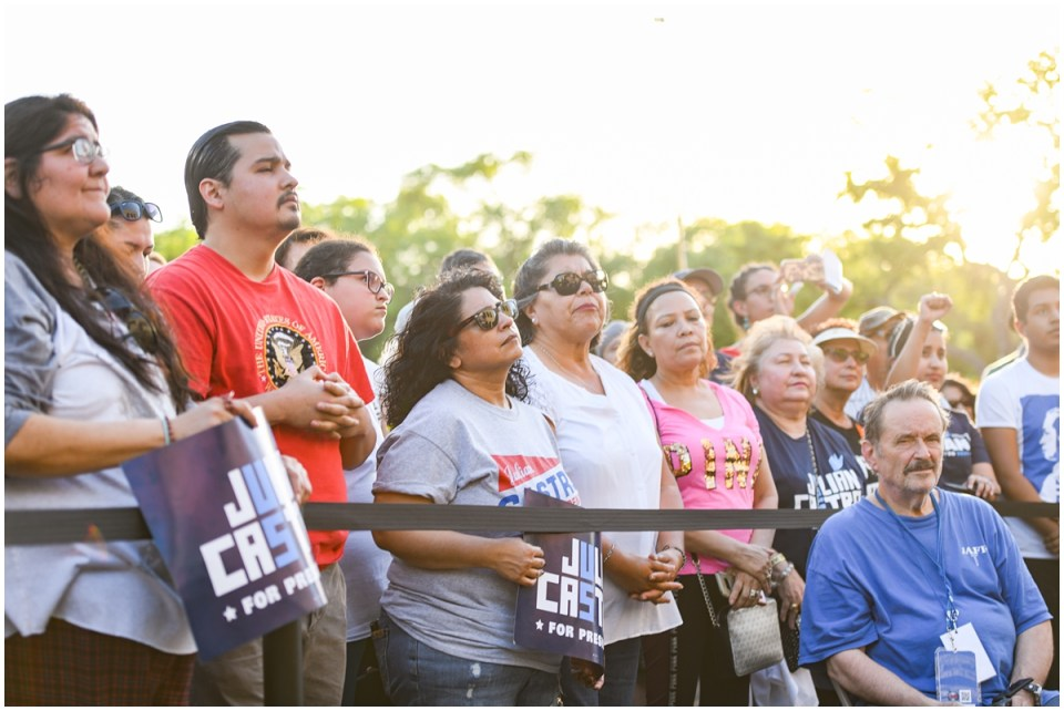 Crowd listening to presidential candidate Julian Castro speak at San Antonio Rally