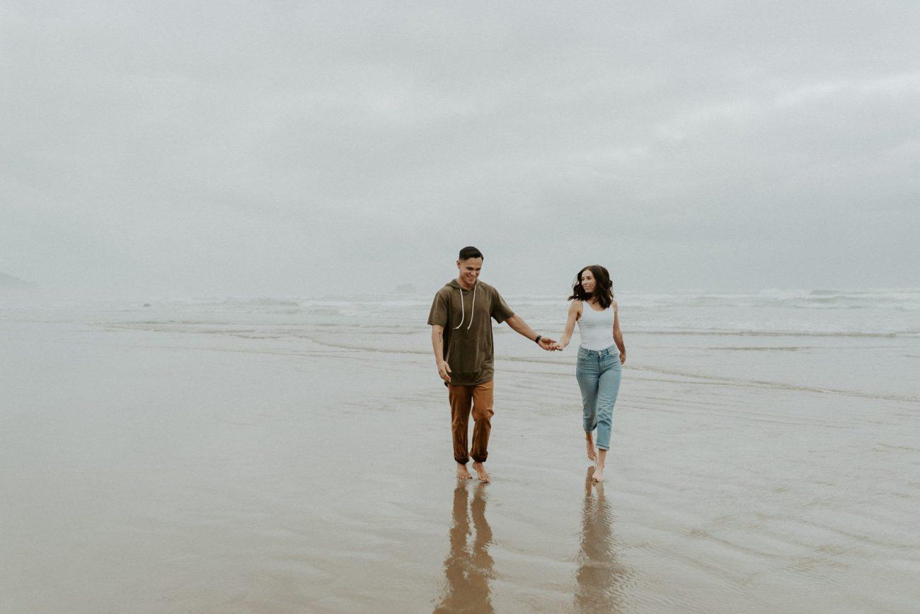 Hug Point Beach Cannon Beach Engagement Session Portland Wedding Photographer Oregon Coast