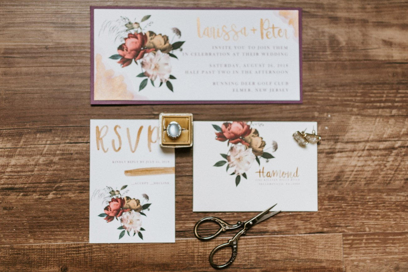 Wedding invitations featuring boho and modern style, Wedding rings details