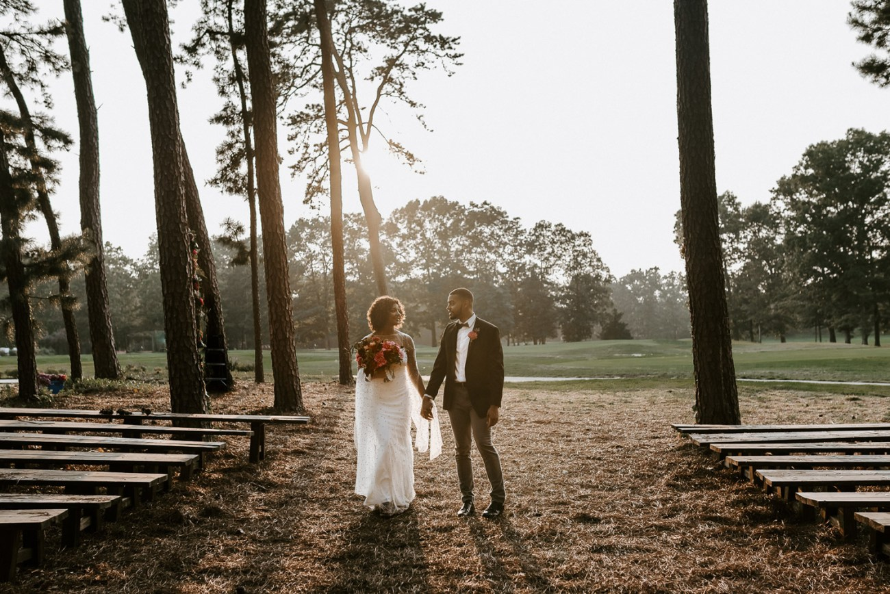 Rustic ceremony site at the Running Deer Golf Club