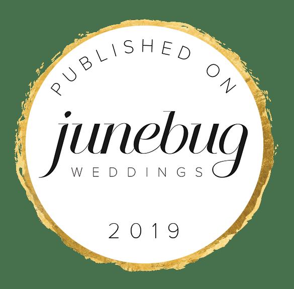 Published On Junebug Weddings Badge White