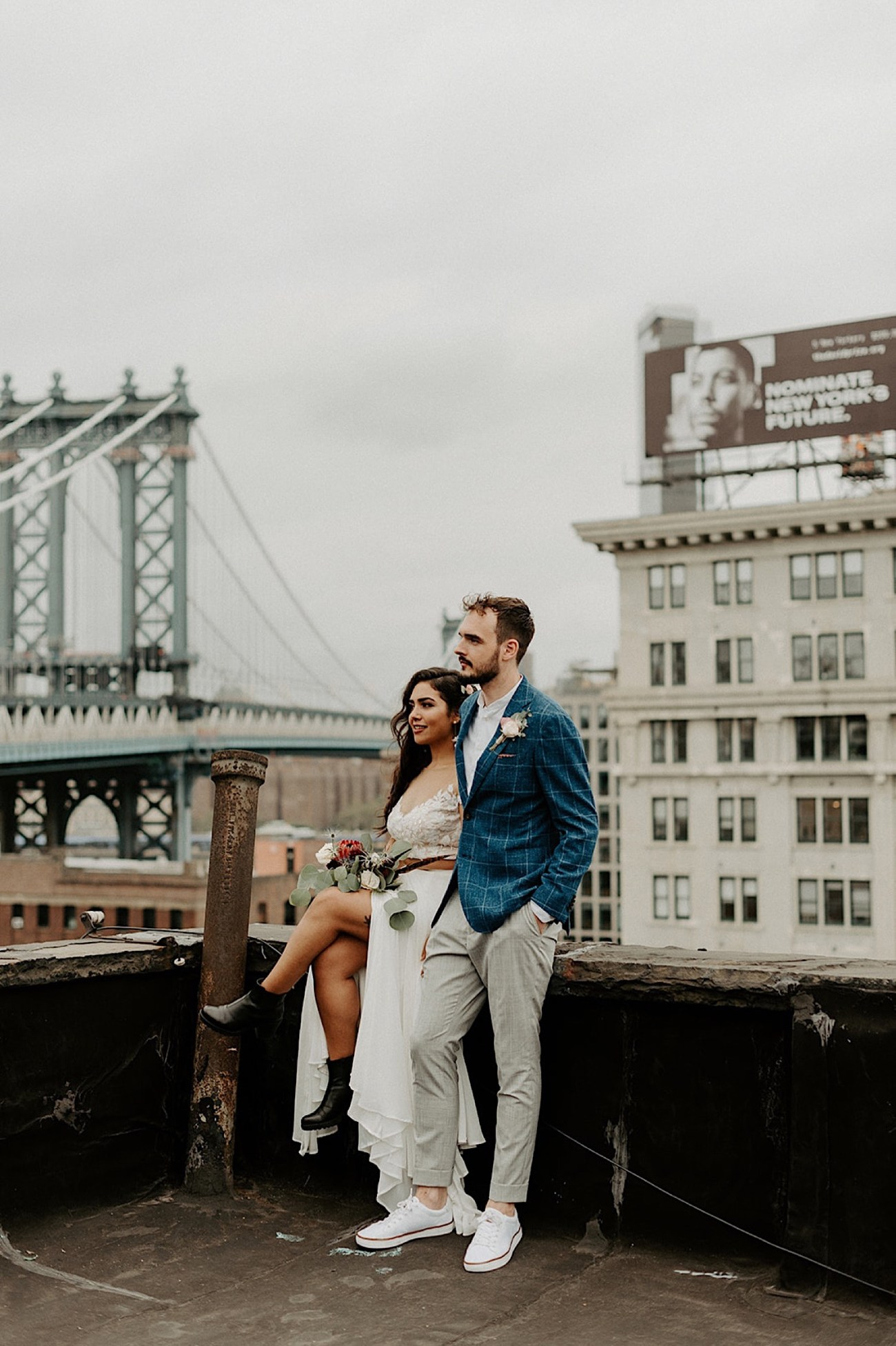 070 Brooklyn Rooftop Wedding New York Wedding Photographer Brooklyn Dumbo Elopement