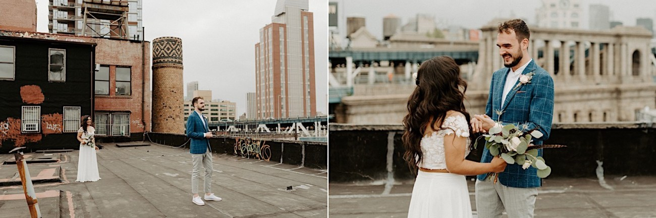 Brooklyn Rooftop Elopement Wedding First Look 007 (1)