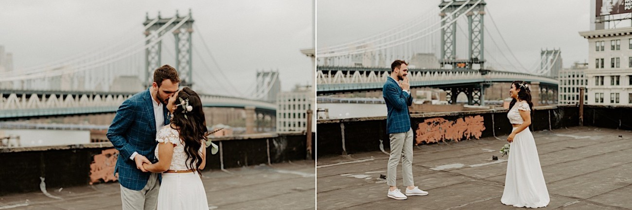 Brooklyn Rooftop Elopement Wedding First Look 008 (1)