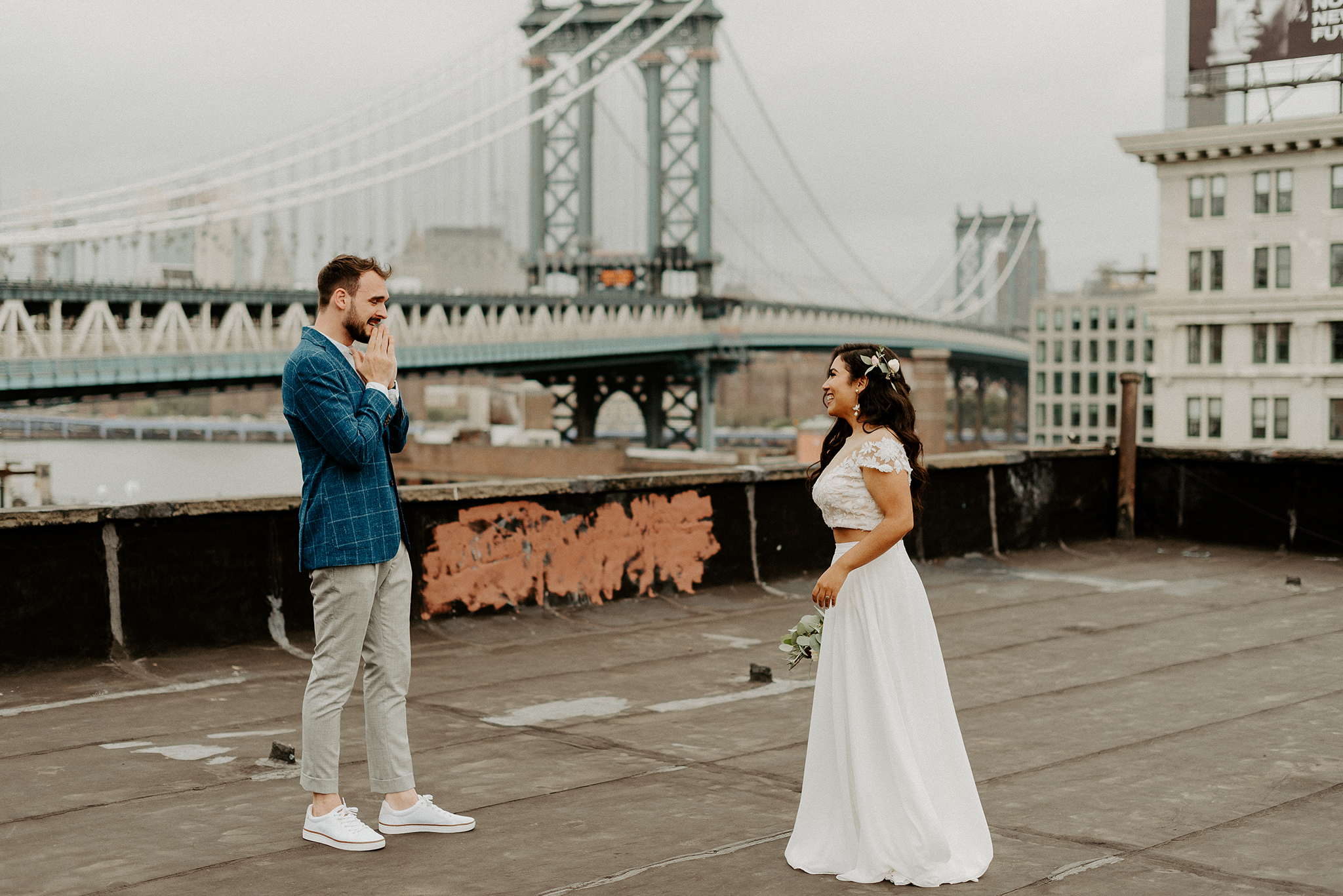 Brooklyn Rooftop Elopement Wedding First Look 022
