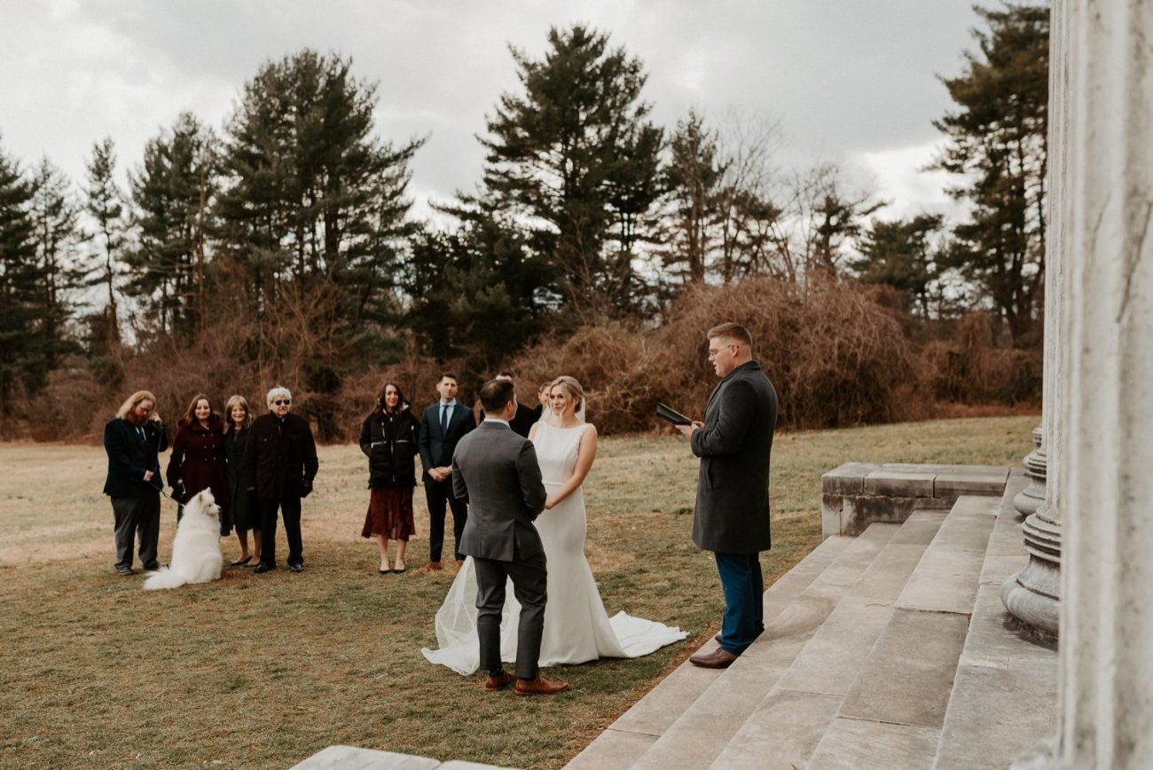 Bride And Groom Exchanging Their Vows At The Princeton Battlefield In New Jersey