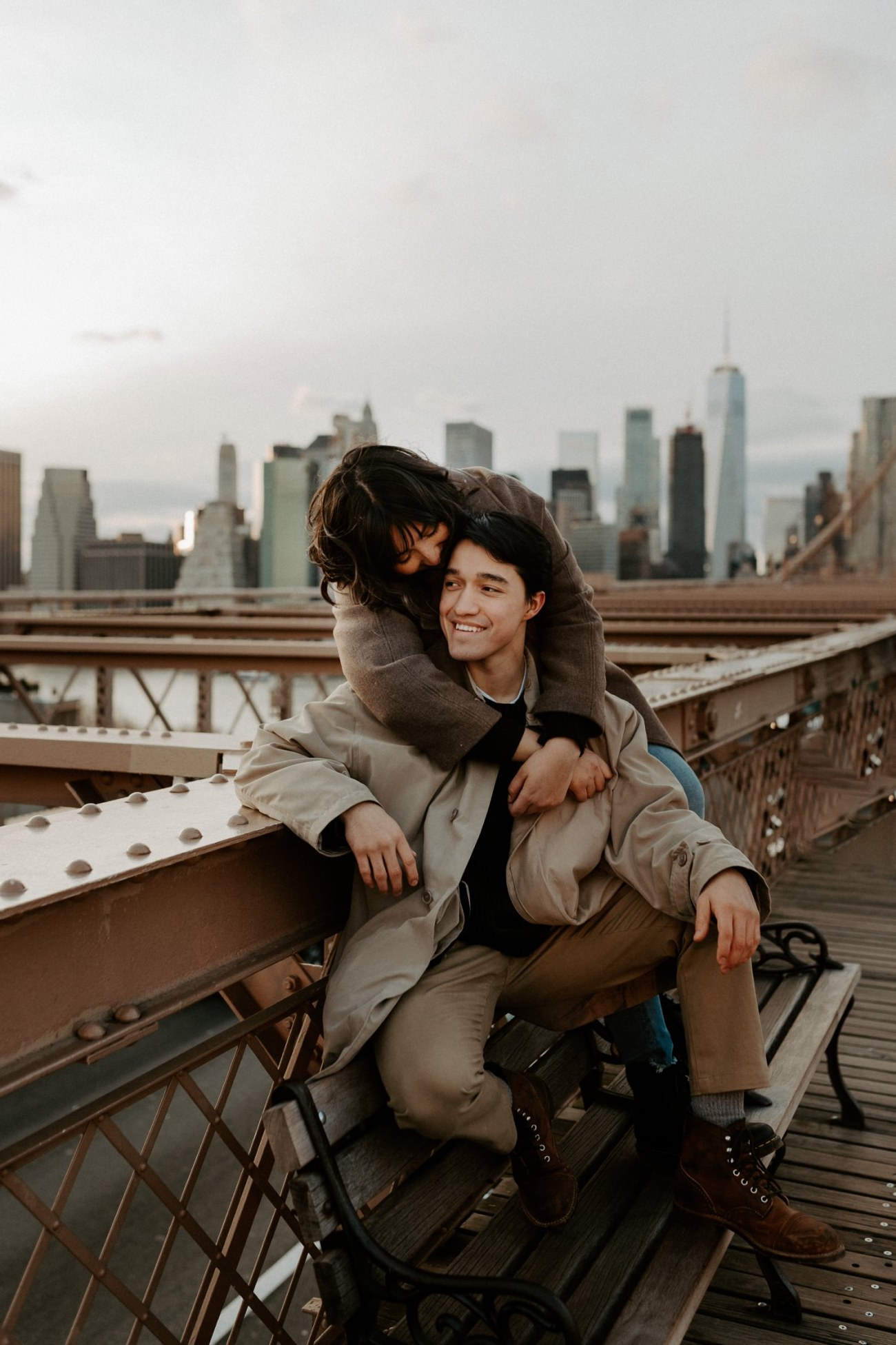 Brooklyn Bridge Sunset Couple Session New York Wedding Photographer NYC Best Engagement Photos Location Anais Possamai Photography 01