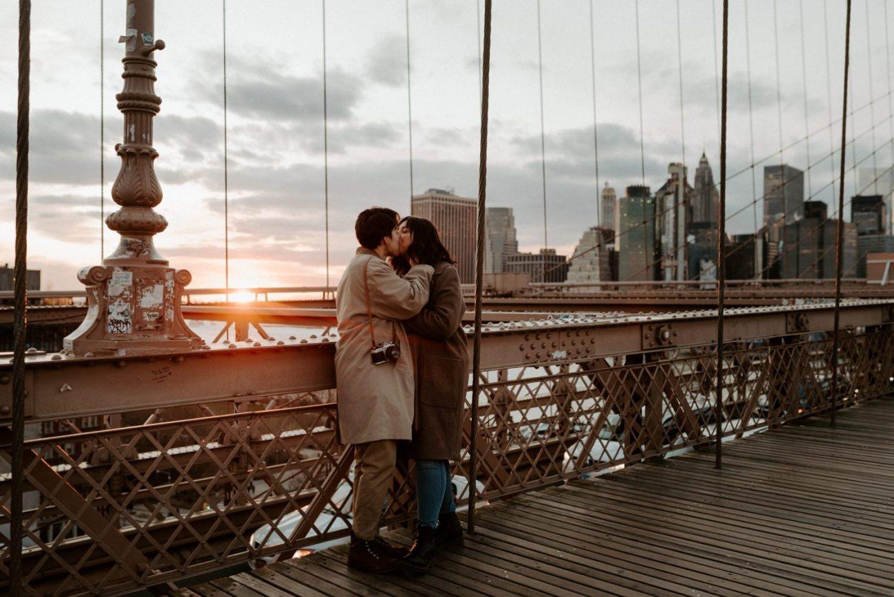 Brooklyn Bridge Sunset Couple Session New York Wedding Photographer NYC Best Engagement Photos Location Anais Possamai Photography 09