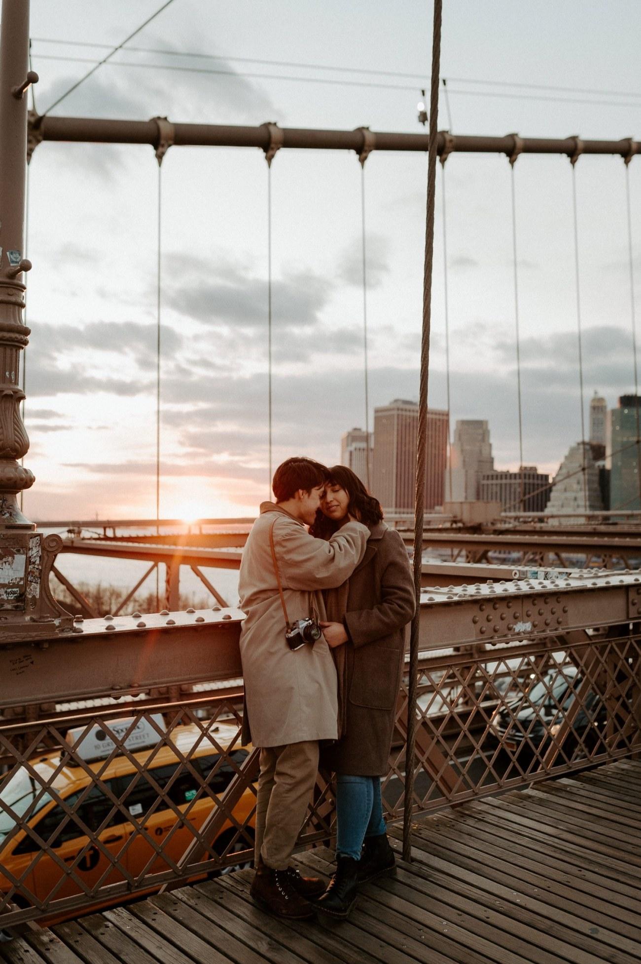 Brooklyn Bridge Sunset Couple Session New York Wedding Photographer NYC Best Engagement Photos Location Anais Possamai Photography 10