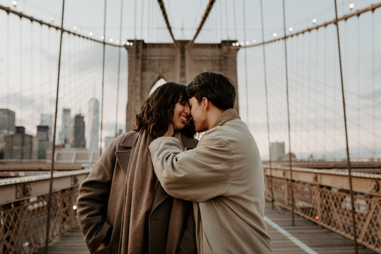 Brooklyn Bridge Sunset Couple Session New York Wedding Photographer NYC Best Engagement Photos Location Anais Possamai Photography 15