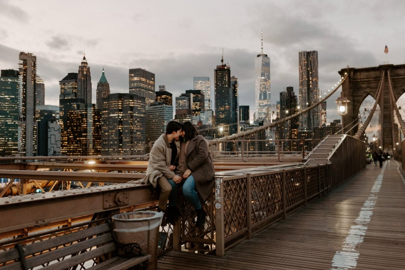 Brooklyn Bridge Sunset Couple Session New York Wedding Photographer NYC Best Engagement Photos Location Anais Possamai Photography 18