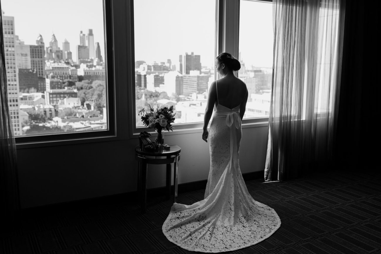 Bride Getting ready at the Hilton Philadelphia at Penn's landing for her Independence Seaport Museum Philadelphia Wedding
