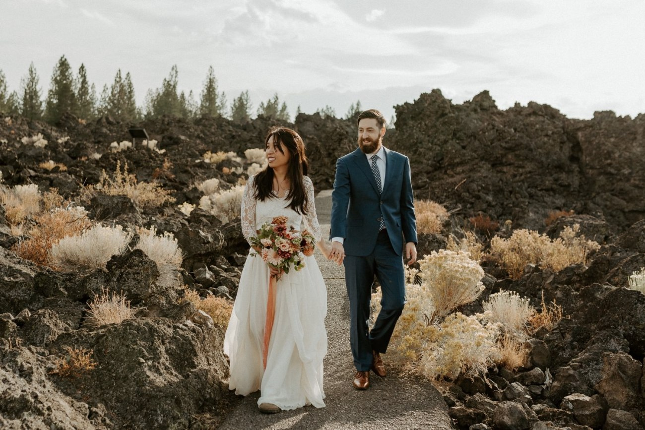 Bride and Groom portraits in Newberry Volcano in Bend Oregon for their elopement