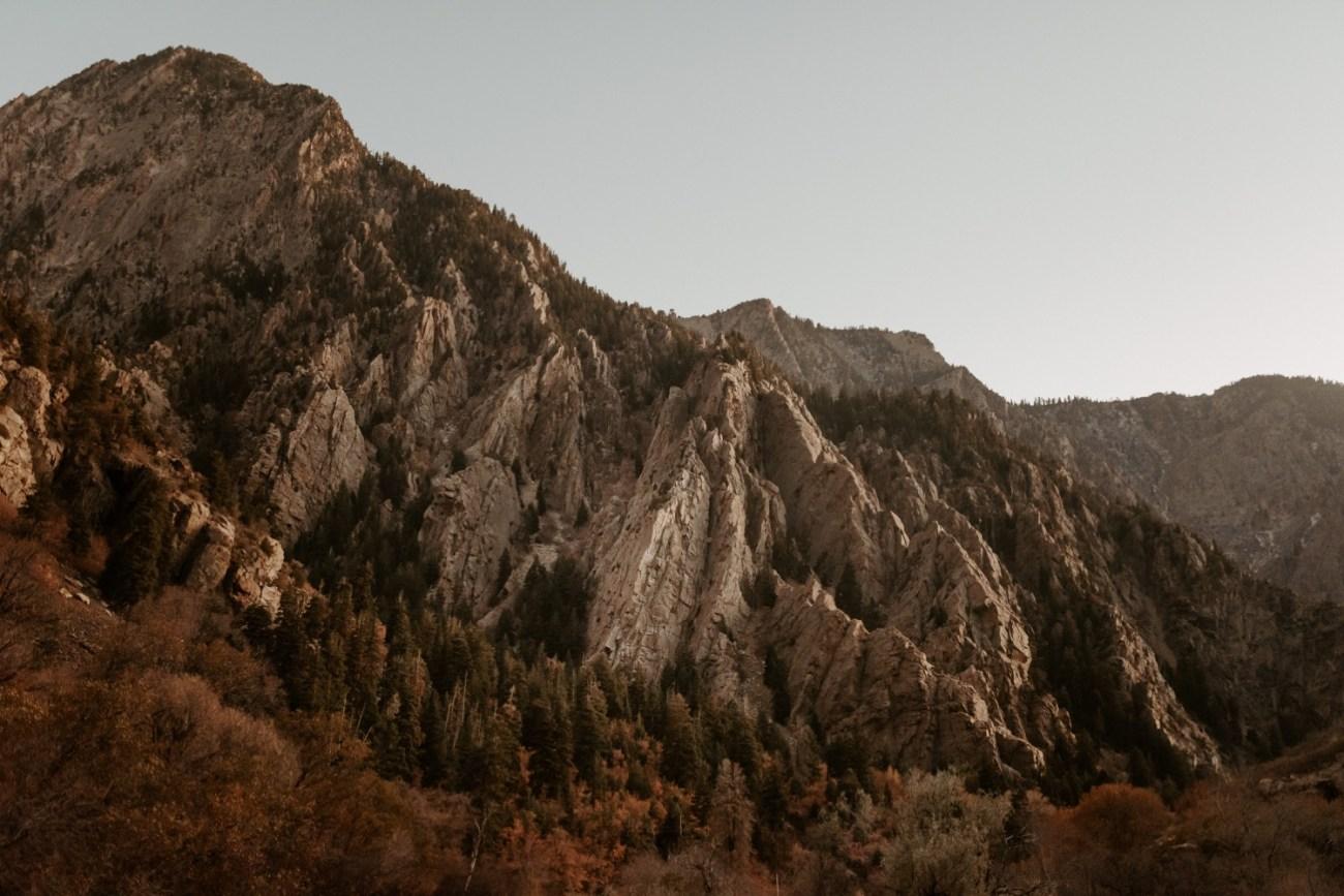 Sunset photo of Big Cottonwood during the fall. Anais Possamai Photography