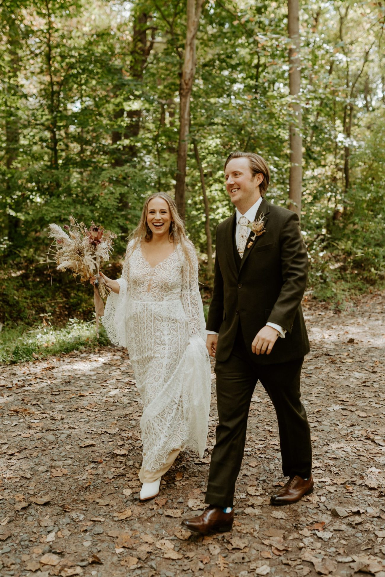 Bride and Groom first look in South Mountain Reservation in New Jersey