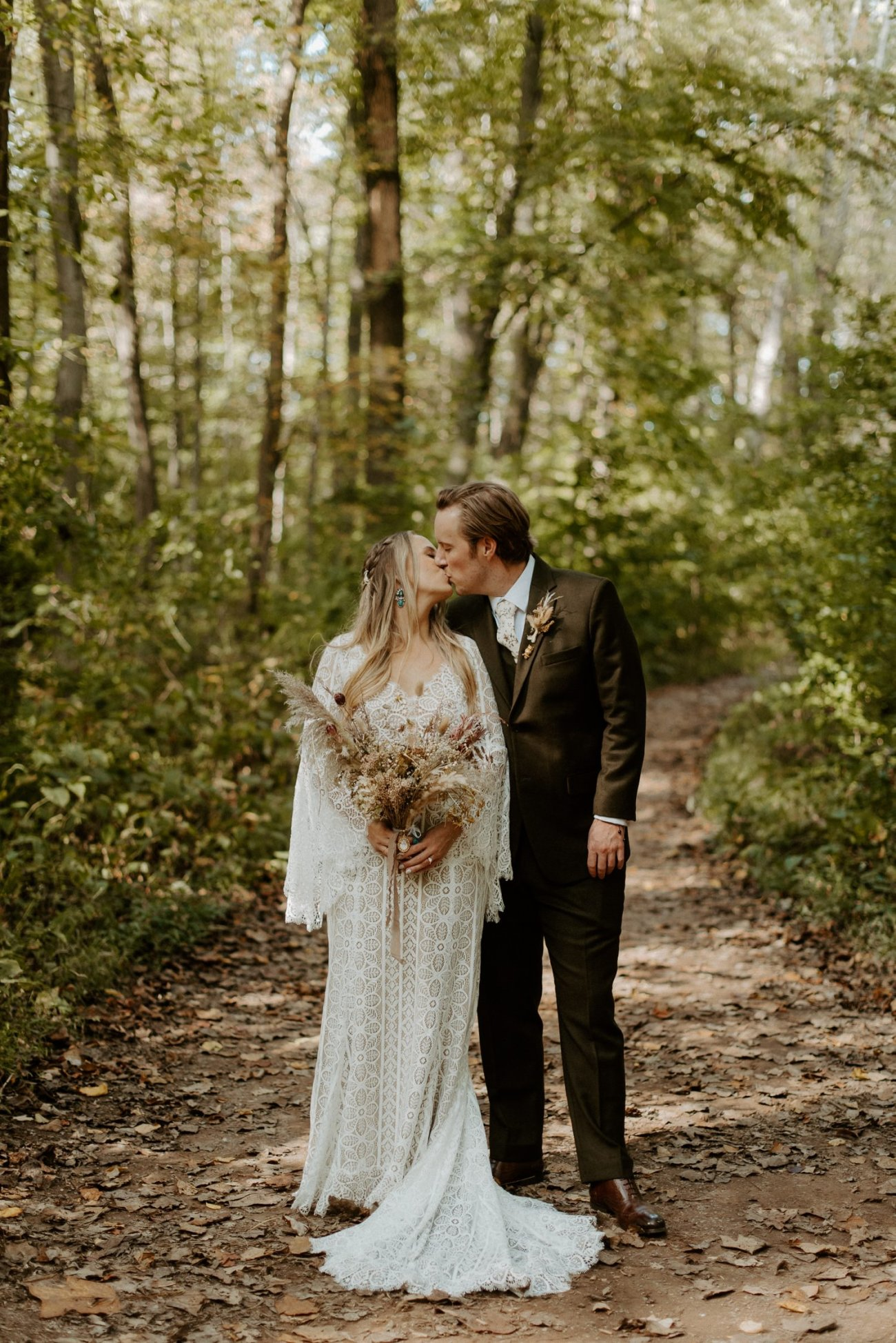 Bride and Groom Wedding Portrait in South Mountain Reservation in New Jersey for their Backyard Wedding