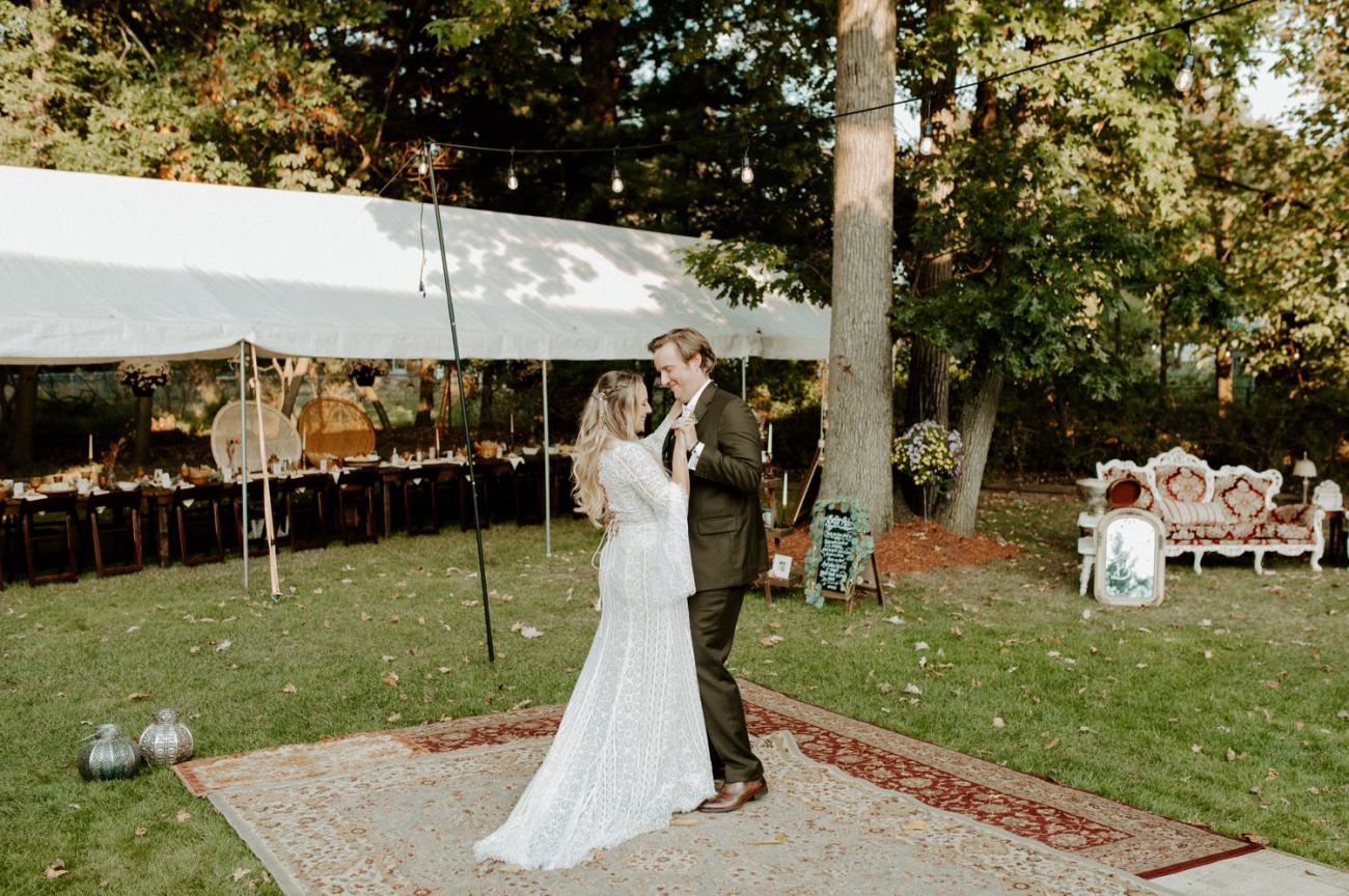 Bride and Groom first dance for their Vintage DIY backyard wedding in New Jersey