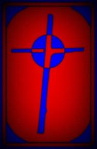 Cardboard Cross blue red dots