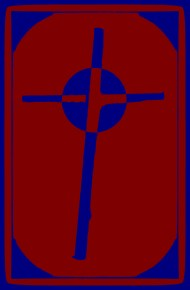 Cardboard Cross red blue
