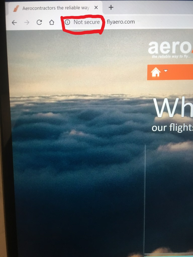 Aero Contractor website without an active SSL certificate.