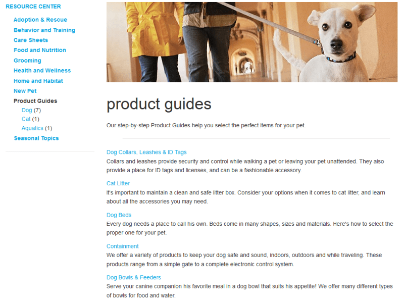 Petco.com Product Guides