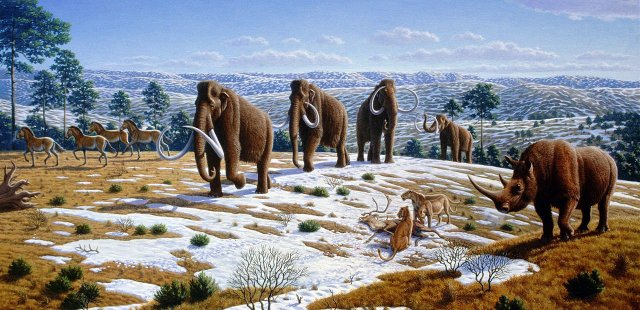 Cave lions and other Ice Age fauna in northern Spain, by Mauricio Antón