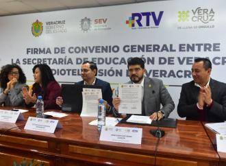 Firman SEV y RTV convenio para fomentar y promover la educación