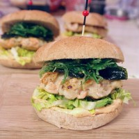 Seafood burger with wakame.